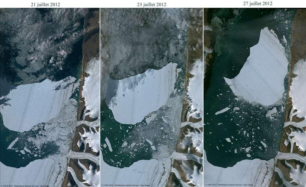 Exemple de revisite avec le suivi du vêlage d'un iceberg géant du glacier Petermann (au Groenland). Avec Pléiades 1A, la revisite ne pouvait se faire que chaque semaine, alors qu'avec Pléiades 1B, elle sera quotidienne. © Astrium Service 2012