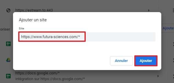 Renseignez le nom des sites que vous voulez autoriser et veillez à ce qu'ils se terminent par « /* ». © Google Inc.