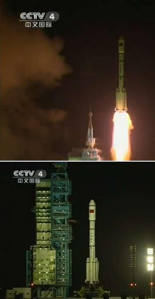 Mis en orbite en septembre 2011, le module orbital Tiangong-1 est désormais habité par des taïkonautes. © CCTV4