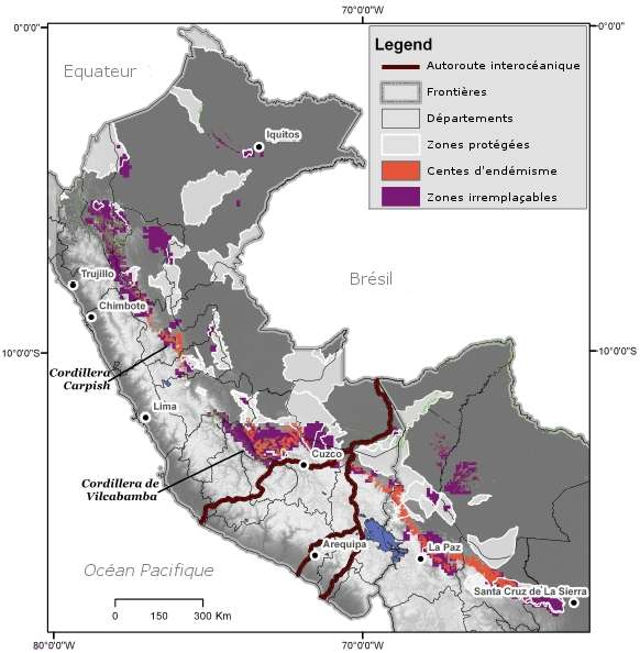 Dans la zone étudiée, les espaces protégés (en gris clair) ne recouvrent que très peu les zones irremplaçables (en violet) ou les centres d'endémisme (en orange). © Swenson et al. 2012, BMC Ecology - adaptation Futura-Sciences