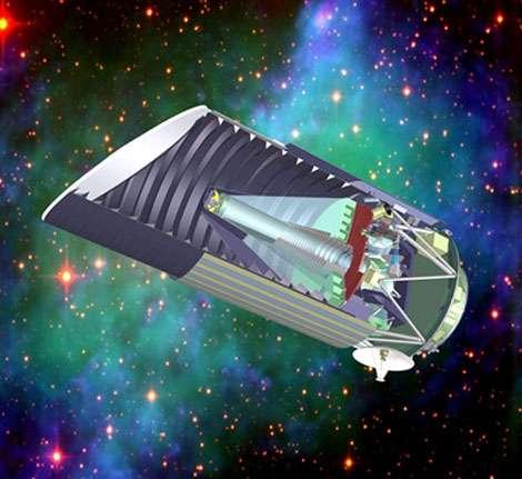 Le projet de satellite SNAP (Supernova/Acceleration Probe) sera capable, chaque année, de mesurer la distance de milliers de supernovae lointaines et de couvrir de vastes zones du ciel pour détecter et mesurer les effets de lentille gravitationnelle créés par la répartition de la matière noire dans l'Univers. L'ensemble de ces mesures permettra de retracer l'histoire de l'expansion cosmique au cours des 10 derniers milliards d'années et de déterminer la nature de l'énergie noire et son éventuelle évolution avec le temps cosmique. © SNAP/LBL