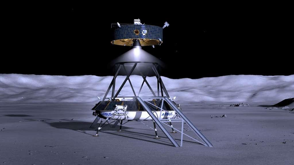 Concept à l'étude de l'alunisseur logistique lourd européen lunaire de l'Agence spatiale européenne (EL3). Dans cette configuration, l'EL3 pourrait permettre une mission de retour d'échantillons lunaires. © Airbus