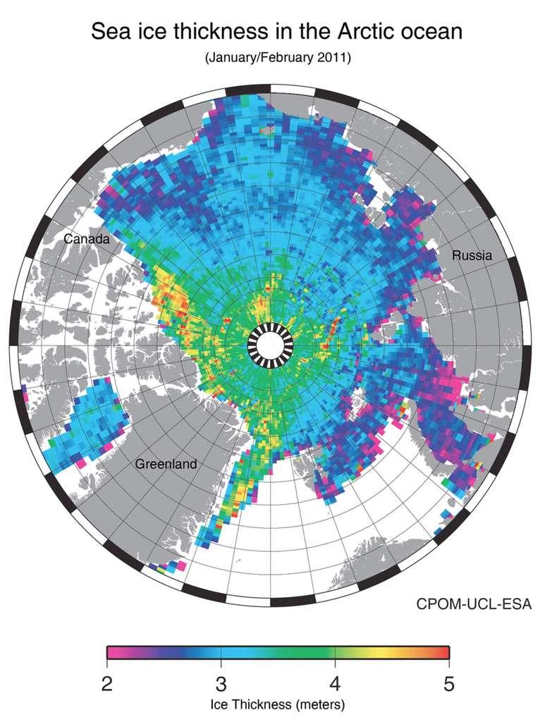 Carte de l'évolution de l'épaisseur (en mètres) de la banquise arctique en janvier et février 2011, mesurée par Cryosat. © Esa