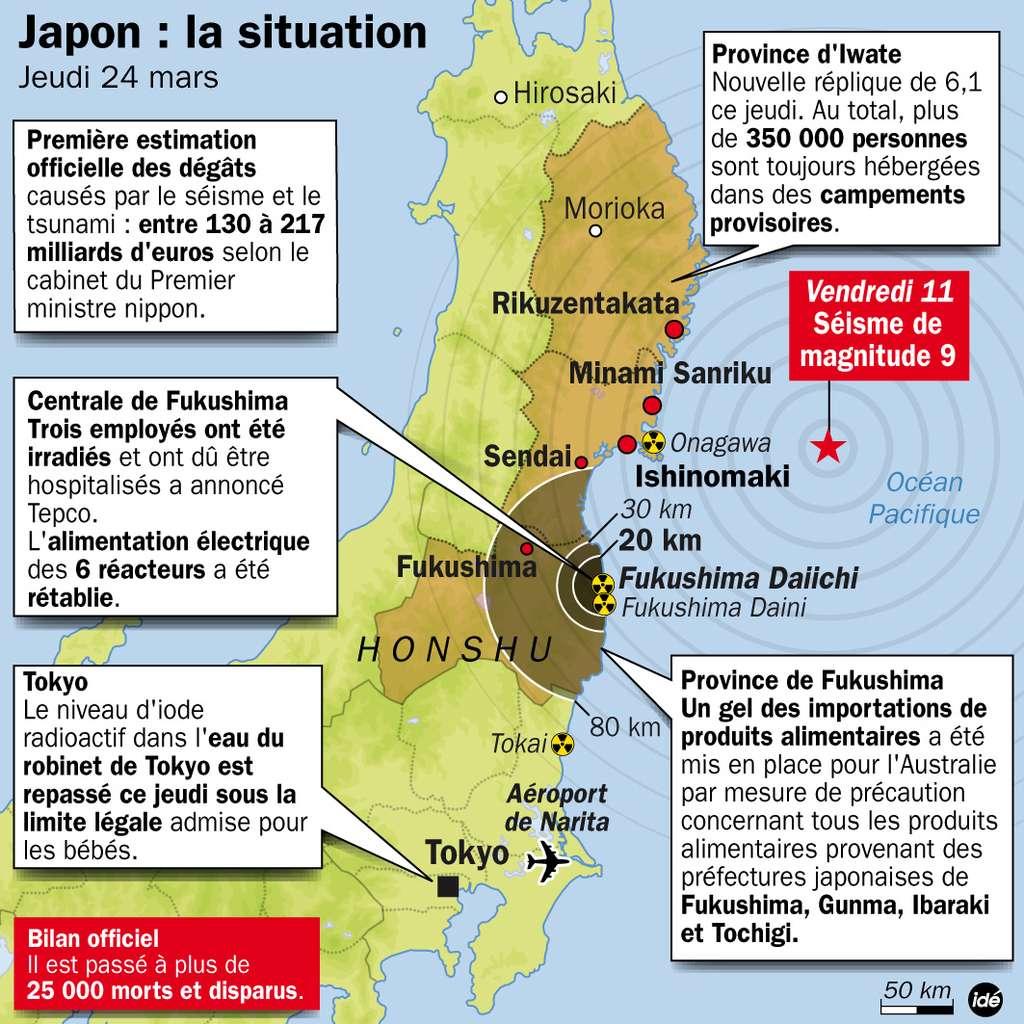 Un bilan de la situation ce jeudi 24 mars 2011. Le bilan provisoire des victimes vient d'atteindre 27.000 victimes. © Idé