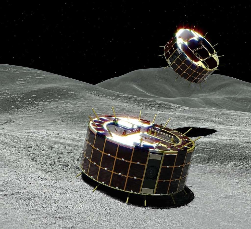 Illustration des rovers Minerva-II-1, des engins bondissants. Leurs épines sont des thermomètres pour mesurer la température à la surface et dans le sol de l'astéroïde Ryugu. © Jaxa