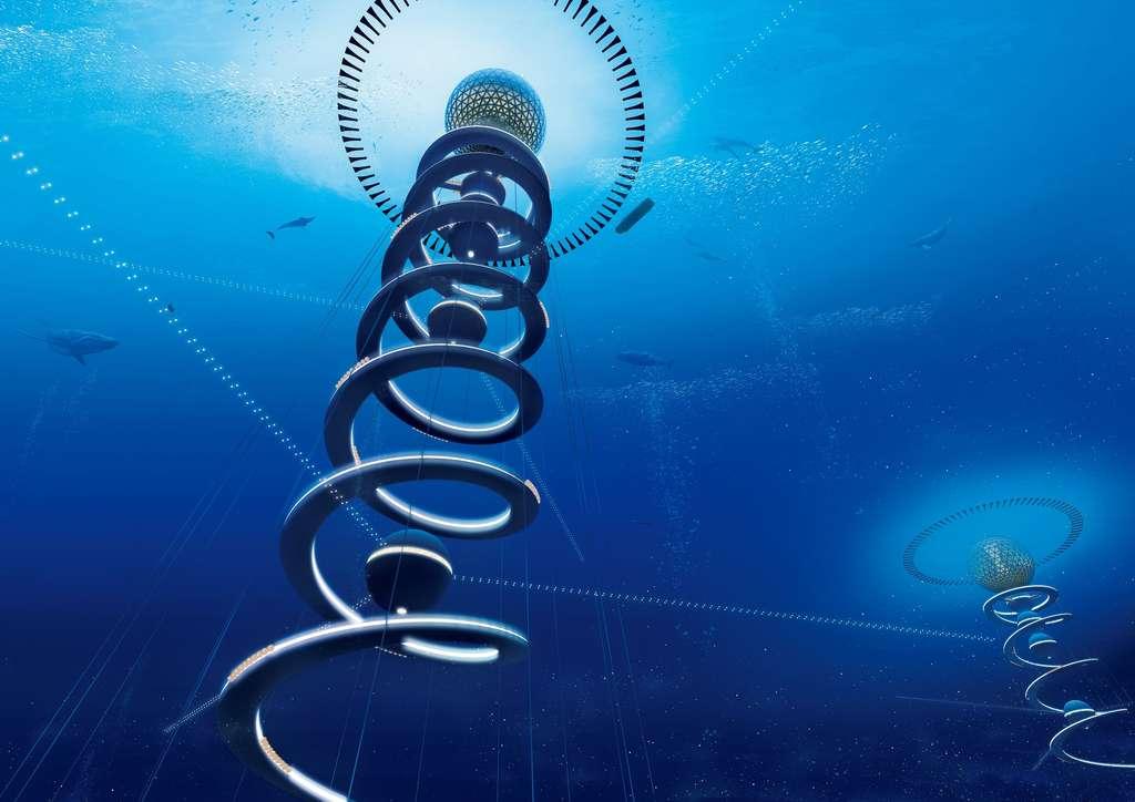 Plusieurs structures pourraient coexister à faible distance les unes des autres. La spirale, en béton, sert à l'ancrage mais aussi au transport de personnes, d'électricité, de matériaux et d'eau. Les sphères sous-marines ont différentes fonctions. Celles situées à faible profondeur sont des ballasts. Les plus profondes servent à la communication par ondes sonores ou à l'étude de la faune. © Shimizu