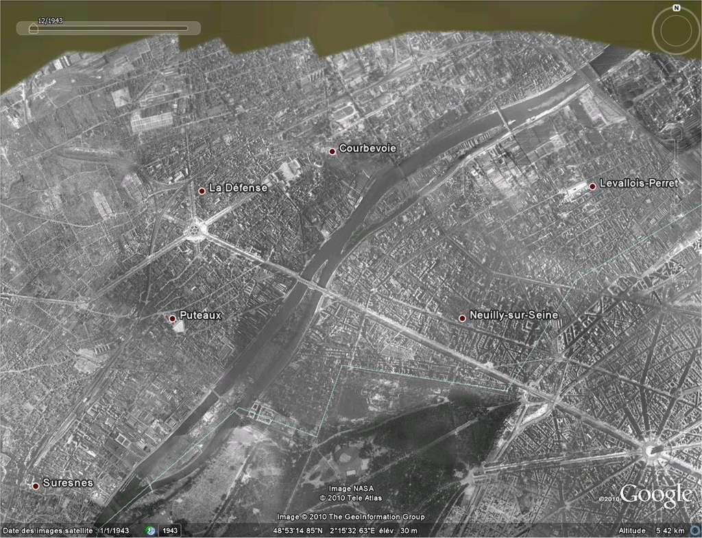Une partie de Paris et la proche banlieue ouest en 1943. L'origine de l'image n'est pas précisée. Le quartier de la Défense n'était pas encore planté...