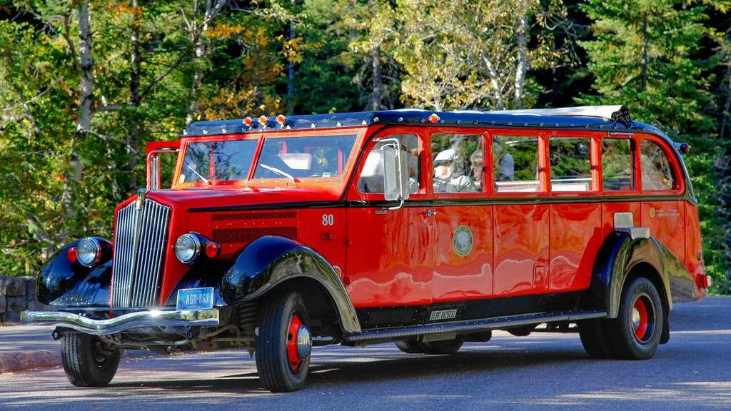 Les bus rouges du parc de Glacier