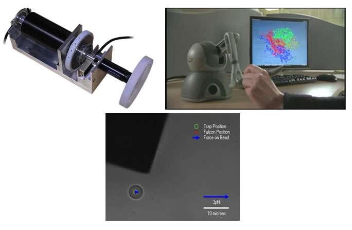 Illustration des recherches dans le domaine de la téléopération aux échelles micro et nanoscopiques. Prototype d'une interface haute fidélité (a). Haptique pour la simulation moléculaire (b). Retour d'effort pour le piège optique (c). © ISIR