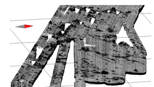 Sud-Est de la Nouvelle-Calédonie, zone volcanique, réflectivité superposée au relief, zone 150 kmx150 km environ © Ifremer Reproduction et utilisation interdites