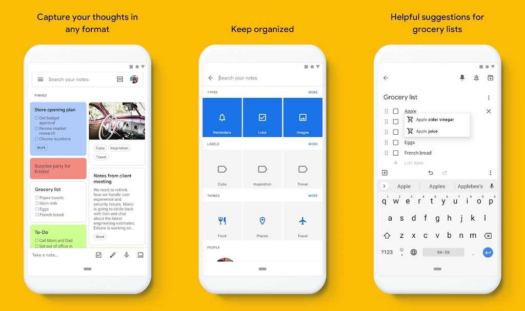 Google Keep est un gestionnaire de notes basique, mais on apprécie sa fonctionnalité de rappel basé sur une position géographique! © Google