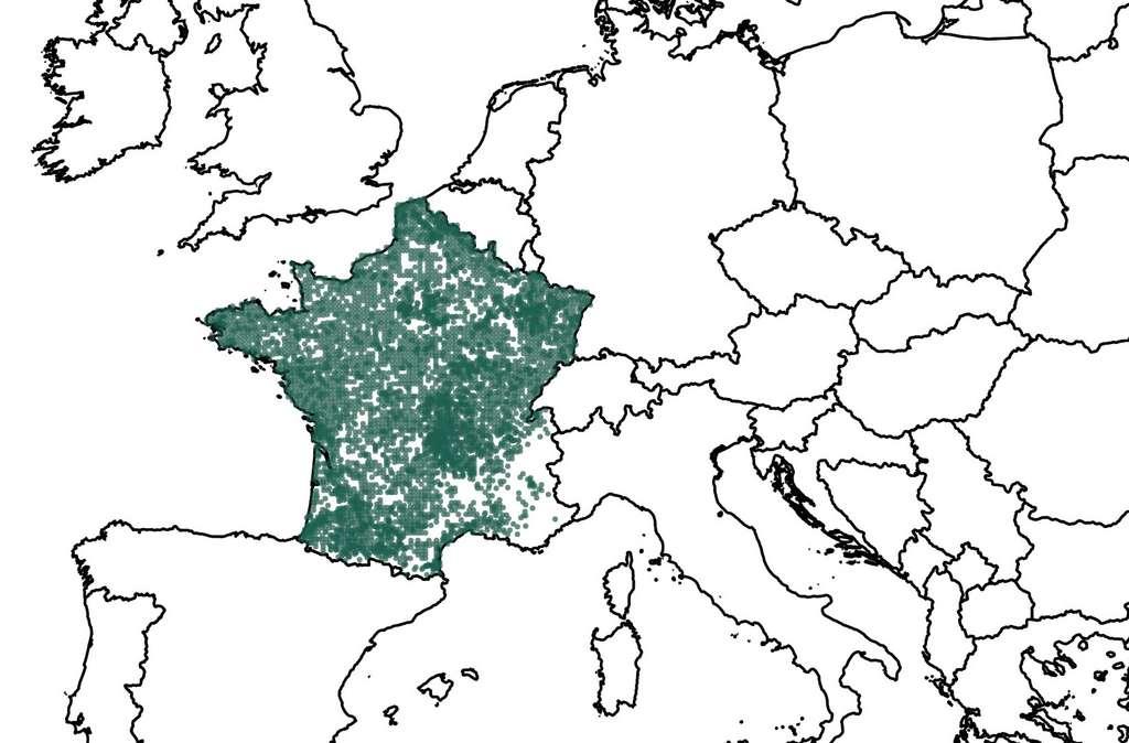 Répartition des données de 2000 à 2021 recensées par l'Inventaire national du patrimoine naturel (Source : OpenObs consultée le 19 avril 2021).