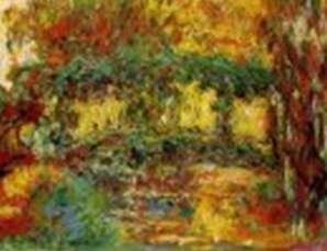 Le pont japonais, Claude Monet. Peint à la fin de la vie de l'artiste, ce tableau montre une prédominance des couleurs chaudes et une vision floue des contours. © Minneapolis Institute of Arts