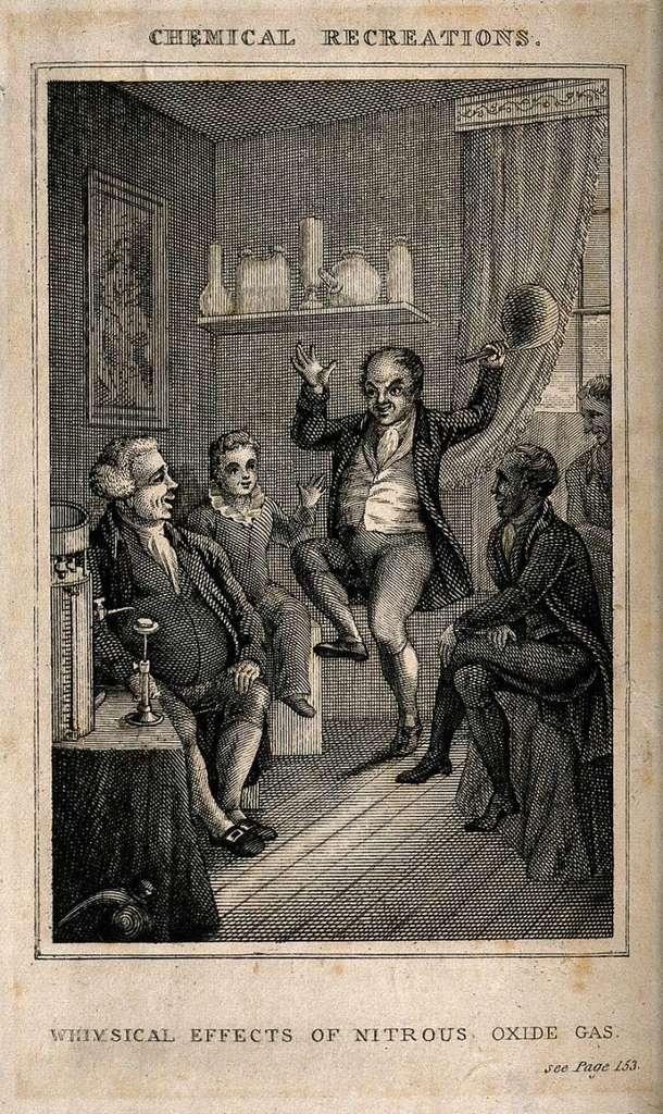 Le gaz hilarant (N2O) est utilisé comme anesthésiant depuis plus de 150 ans. Sur cette gravure du 19e siècle, un homme danse après avoir inhalé ce gaz. © Wellcome Library, London, Wellcome Images