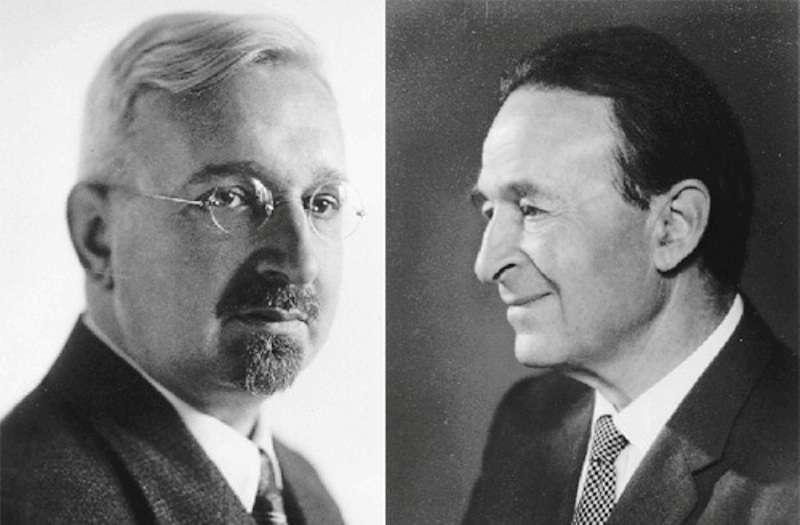 Theodor Kaluza (à gauche) et Oscar Klein. Kaluza a proposé sa théorie en 1919. Elle n'unifiait que les forces connues de l'époque, à savoir la gravitation et l'électromagnétisme. Klein est allé plus loin dans les années 1930 en complétant les idées de Kaluza et en utilisant les lois de la mécanique quantique. © Stanley Deser, université de Göttingen