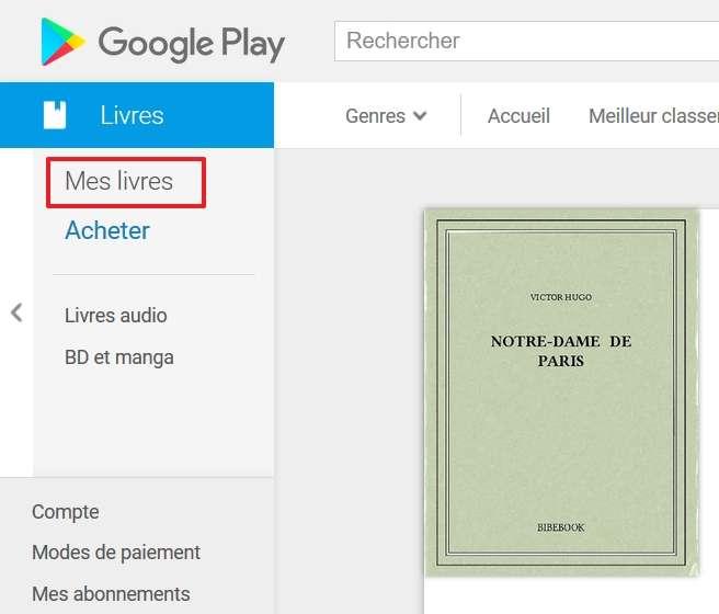 Cliquez sur « Mes livres » dans le menu à gauche. © Google Inc.