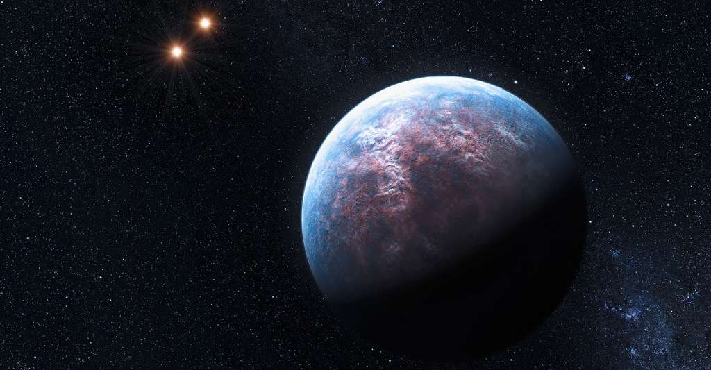 Vue d'artiste de Gliese 667 Cb, avec la binaire Gliese 667 A/B au fond. © ESO/L. Calçada, CC BY 4.0