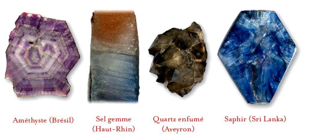 Outre les degrés d'oxydoréduction, la radioactivité naturelle peut colorer des minéraux (de gauche à droite : améthyste, sel gemme ou halite, quartz enfumé), comme l'interaction entre ions (saphir, à droite). © Dunod, DR