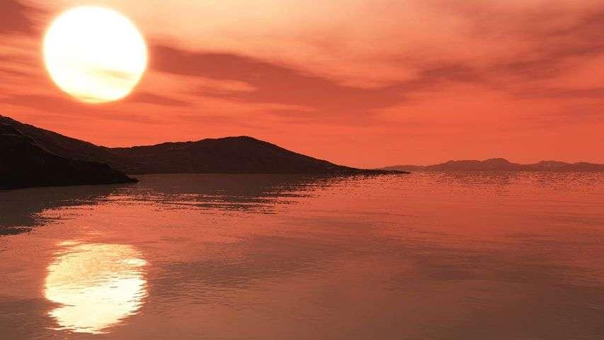Une vue d'artiste de la surface d'une des exoplanètes de Trappist-1 qui pourrait posséder un océan. © Adrian Mann