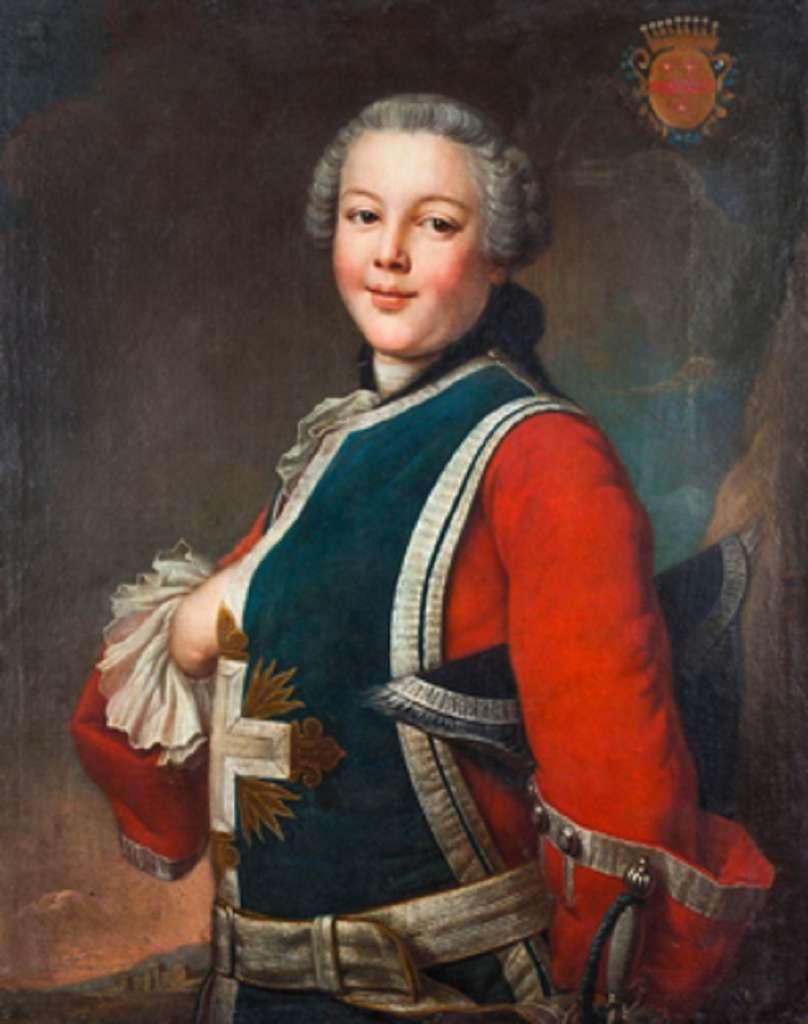 Portrait de jeune mousquetaire (deuxième compagnie, flammes jaunes) vers 1750 ; anonyme français. Musée de l'Armée, Hôtel des Invalides, Paris. © RMN-Grand Palais