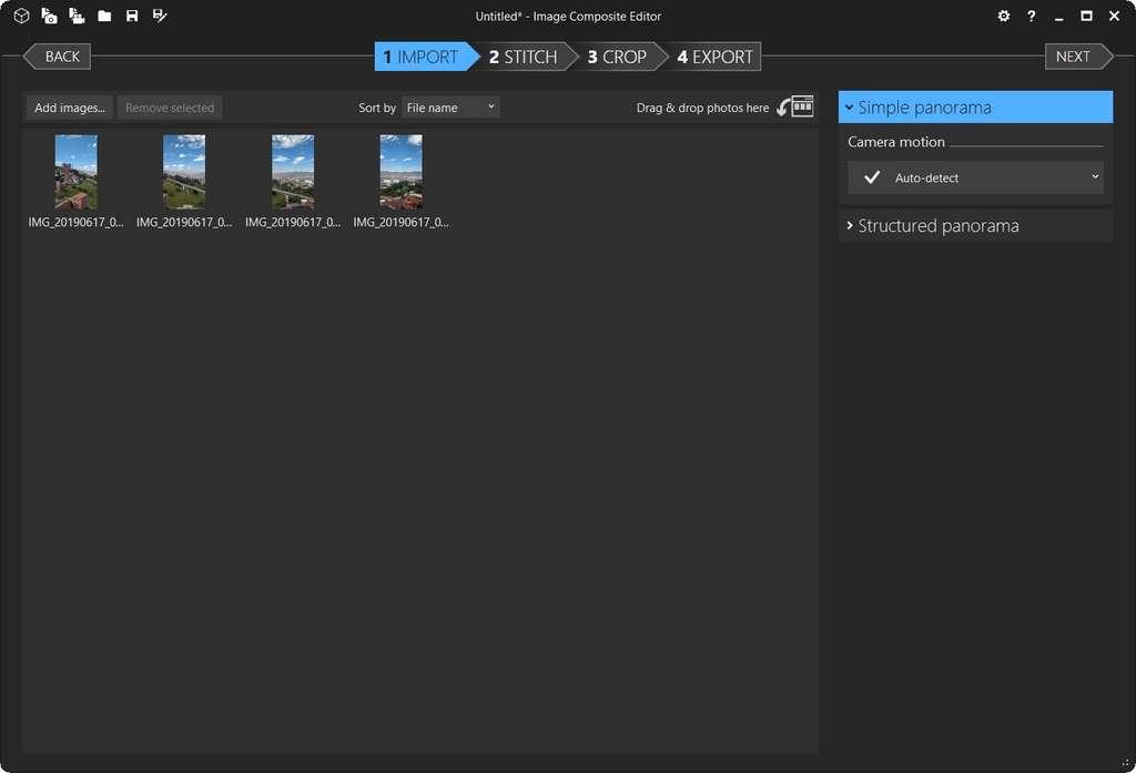 Affichage des images dans l'écran d'importation. © Image Composite Editor