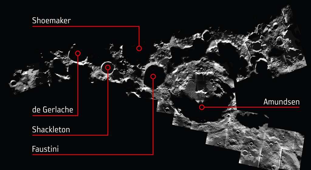 Quelques cratères du pôle Sud lunaire à l'intérieur desquels un observatoire pourrait être construit. © ESA/SMART-1/AMIE camera team; M. Ellouzi/B. Foing, CC by-sa 3.0 IGO