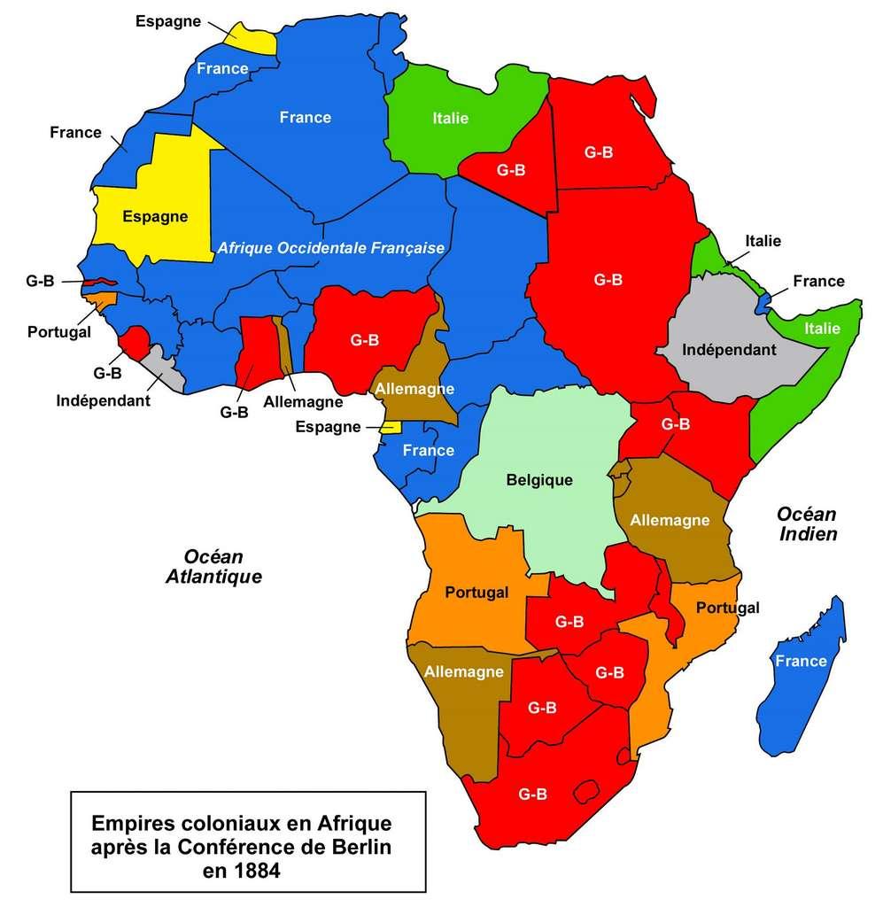 Carte du partage de l'Afrique après Berlin, en 1884-1885. © SeneNews.com.