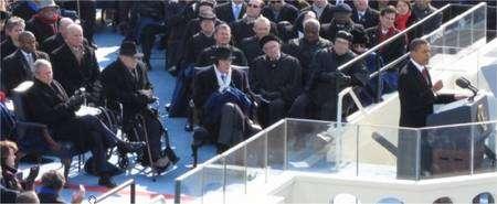 George W. Bush applaudit... (Détail de l'image affichée sur le site dédié au Gigapan.)