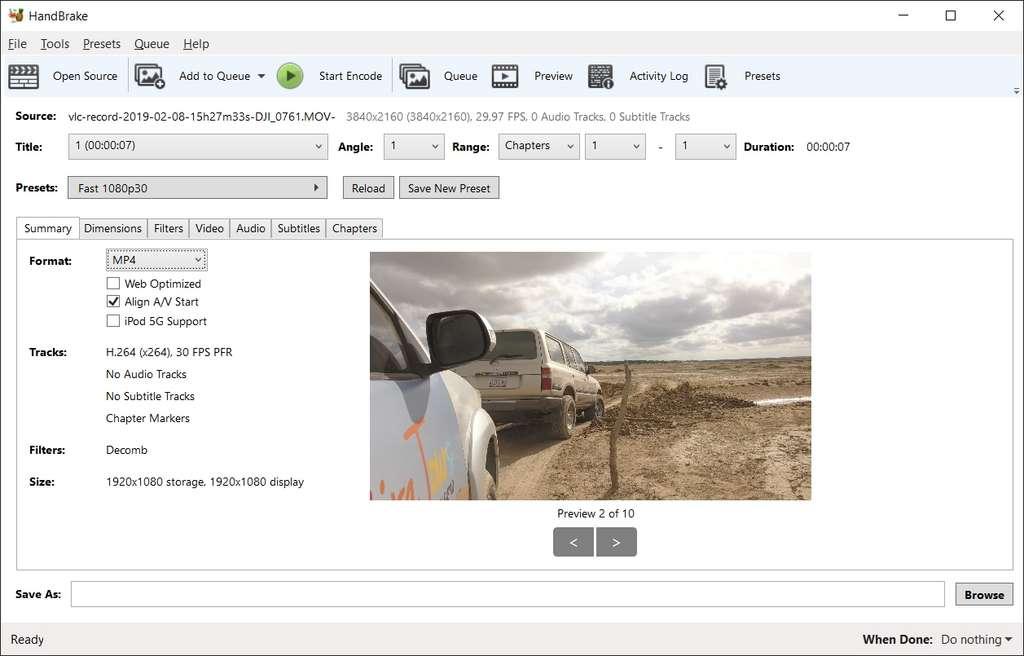 HandBrake gère efficacement les fichiers de toutes résolutions, mais ses options avancées sont peu explicites © The HandBrake Team