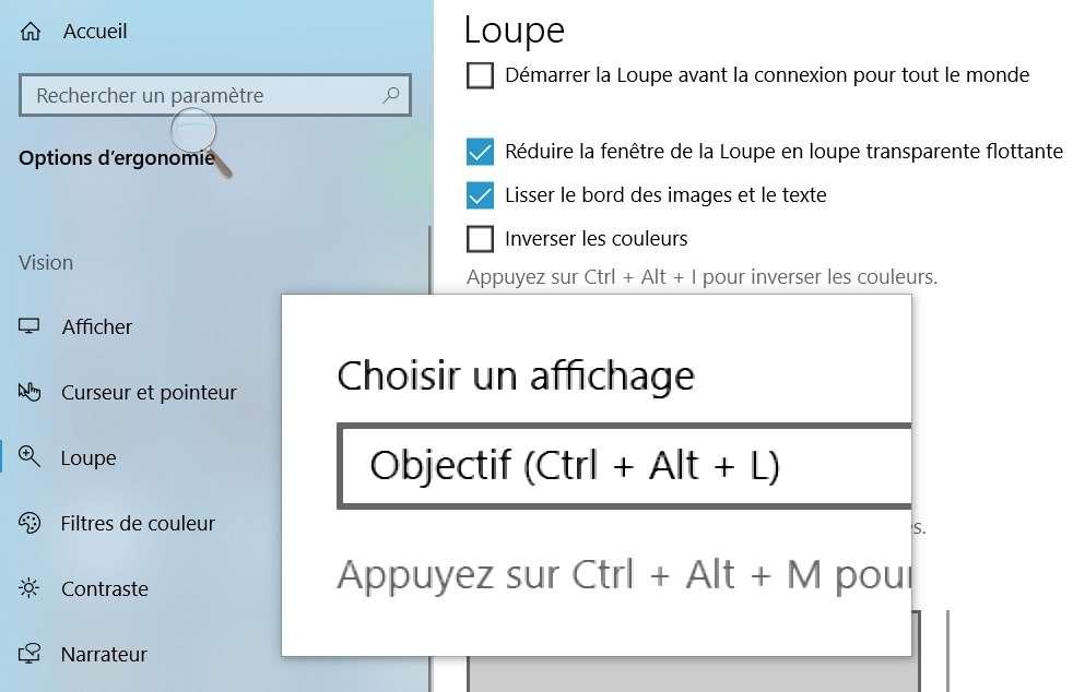 Le mode loupe permet d'augmenter la taille d'une surface restreinte de l'écran. © Microsoft