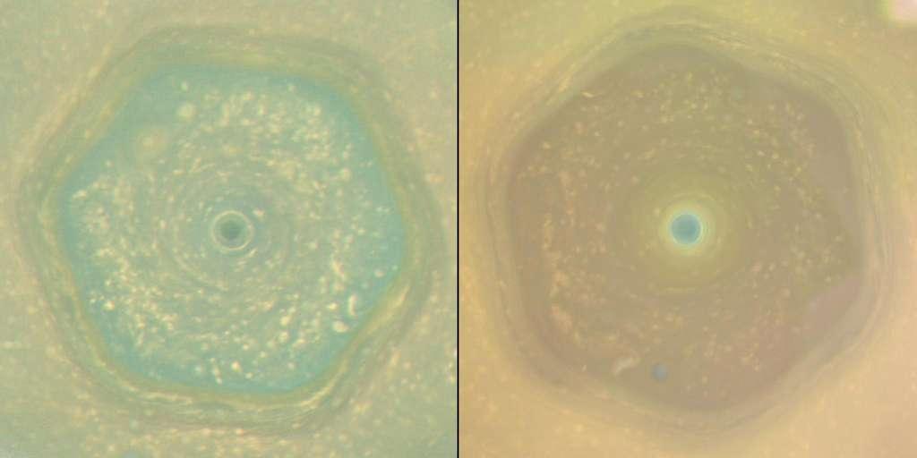 L'hexagone de Saturne. Ces deux images ont été acquises à des saisons différentes, ce qui explique les changements de couleur. © Nasa, JPL-Caltech, Space Science Institute