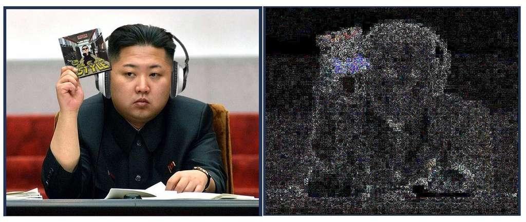 L'outil ELA (Error Level Analysis) indique le niveau de compression d'une image : plus cette image est copiée, plus celui-ci augmente. Des différences importantes, comme ici la fausse carte brandie par Kim Jong Un, peuvent signaler que des éléments ont été ajoutés ou enlevés. © capture écran FotoForensics
