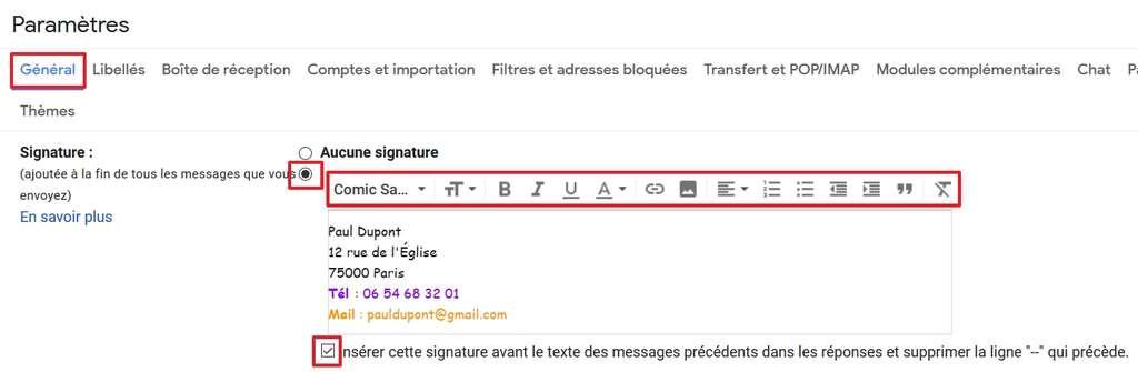 Définissez votre signature, sa forme et son emplacement. © Google Inc.