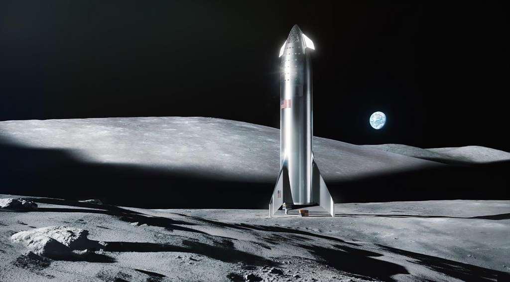Vue d'artiste du Starship posé sur la Lune. Bien qu'Elon Musk ait annoncé que son système de transport pourrait atterrir sur la Lune dès la fin 2021 pour déposer du fret et deux ans plus tard des hommes (2023), la Nasa et aussi de nombreux spécialistes jugent ces délais trop courts et doutent que SpaceX parvienne à les tenir. © SpaceX