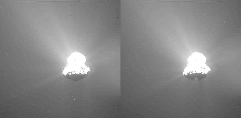 Deux minutes séparent ces deux images de « Tchouri » prises le 12 mars par la caméra grand angle d'Osiris, à 75 kilomètres de distance. Un jet de poussière est brusquement apparu dans la partie nocturne de la comète, près du centre de la région d'Imhotep. (Une version en gif animé est proposée par l'Esa). © Esa, Rosetta, MPS, UPD, LAM, IAA, SSO, INTA, UPM, DASP, IDA