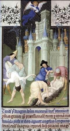 Fosse commune, peste XIVè, Belles Heures du Duc de Berry 1410.