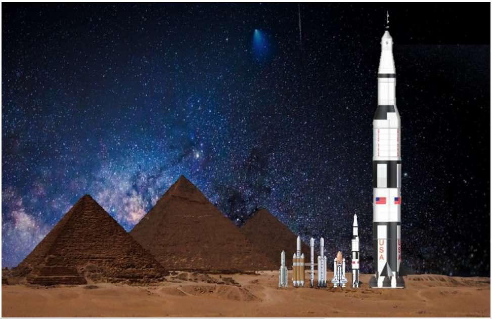 Par comparaison, de gauche à droite : les pyramides de Gizeh (environ 150 m de haut) ; Ariane 5 ; le Delta Heavy ; le Falcon 9 ; le Falcon Heavy ; la navette spatiale américaine ; Saturne V ; et enfin, la fusée géante de 400.000 tonnes que des extraterrestres devraient construire pour décoller d'une superterre comme Kepler-20 b. © Michael Hippke, 2018, arXiv
