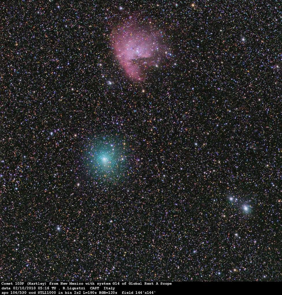 La comète Hartley 2 à proximité de la nébuleuse Pacman. © R. Ligustri/CAST/GRAS