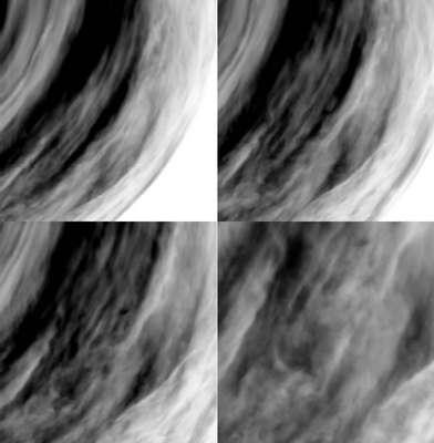 Quatre images prises par Virtis le 24 septembre 2006 dans le proche infrarouge (1,7 micron) montrant les basses couches atmosphériques. © ESA