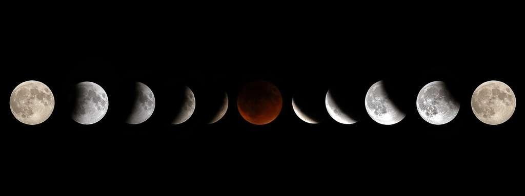 Les différentes phases d'une éclipse de Lune. © Christin Lola, Fotolia