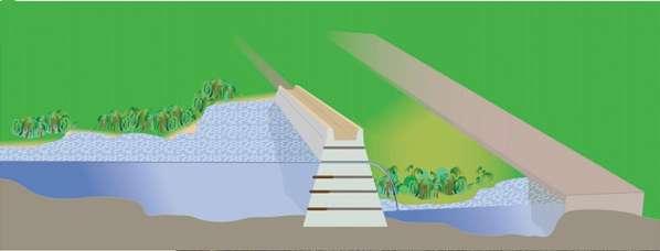Représentation schématique du barrage du Palais qui a été découvert dans la cité précolombienne maya de Tikal, dans le nord du Guatemala. Le fond des réservoirs devait, selon certains indices, être recouvert de pierres plates. Les lignes brunes dans l'édifice correspondent à des canaux d'évacuation pour l'eau. © Scaroborough et al. 2012, Pnas