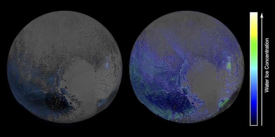 New Horizons était à 108.000 km de Pluton lorsque les vues globales, séparées de 15 mn, ont été réalisées dans l'infrarouge avec l'instrument Ralph/Leisa pour créer un portrait composite multispectral. À gauche, l'ancienne carte de la distribution de l'eau en surface. Seules pointent les régions où elle affleure; partout ailleurs, elle est plus ou moins dissimulée sous des couches de glace plus volatiles comme le méthane ou l'azote. À droite, la nouvelle carte, établie avec l'aide d'un modèle qui tient compte des différentes glaces qui peuvent masquer l'eau. © Nasa, JHUAPL, SwRI