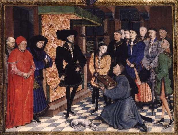 Sur cette célèbre miniature du maître flamand Rogier van der Weyden, Philippe le Bon reçoit un livre enluminé en cadeau. Cette peinture est un exemple typique du talent des artistes de la cour des ducs de Bourgogne. © Wga.hu,Wikimedia Commons, DP