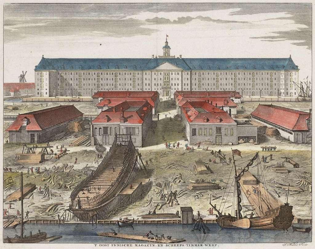 Magasins de la VOC et chantier naval d'Amsterdam, par Joseph Mulder, vers 1725. Bibliothèque des Arts décoratifs, Paris. © Wikimedia Commons, domaine public