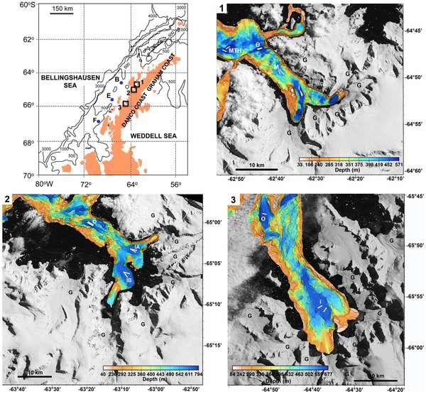 La répartition de la biodiversité des fjords antarctiques a été évaluée sur trois sites dans la mer de Weddel. Sur la carte du haut à gauche, les trois carrés montrent les emplacements des lieux analysés, la baie Andvord (1), Flandres (2) et la baie Barilari (3). Les cartes suivantes montrent la bathymétrie des sites. © Laura Grange et Craig Smith, Plos One