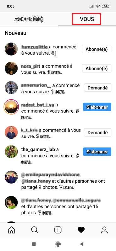 Vous pouvez voir les dernières personnes qui ont commencé à vous suivre et si elles ont posté des publications. © Instagram