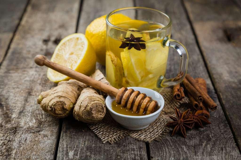 Après un repas, une décoction de gingembre vous aidera à digérer. Avec du citron et du miel, le gingembre vous redonnera tonus et vigueur, en plus de ses vertus digestives et anti-inflammatoires. © anaumenko, Fotolia