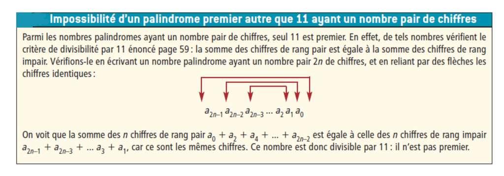 Cet encadré explique la raison pour laquelle excepté 11, il n'y a pas de palindrome premier avec un nombre par de chiffres. © Belin