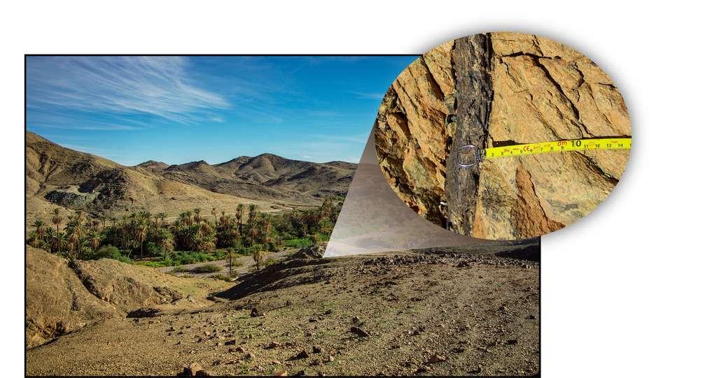 Unité de lithosphère océanique (serpentinites et gabbros) obductée à proximité de la localité marocaine d'Aït Ahmane (ophiolite de Bou Azzer, Anti-Atlas) et exemple de veine de magnétite massive observable au sein des serpentinites hydrothermalisées de l'unité. Ces veines de magnétite, qui constituent avec les serpentinites les vestiges d'un système hydrothermal sous-marin néoprotérozoïque, sont les cibles de l'étude isotopique. © Florent Hodel, université Toulouse III – Paul Sabatier