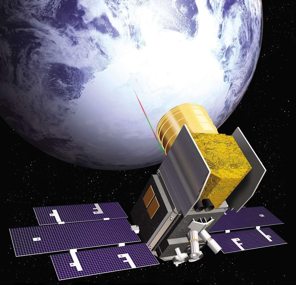 Le satellite IceSat (pour Ice, Cloud, and land Elevation Satellite) a été placé sur une orbite quasiment circulaire à 600 km d'altitude. Il a notamment été utilisé pour mesurer l'épaisseur de la couche de glace au Groenland et en Antarctique grâce au Glas, le seul instrument embarqué à bord. © Nasa